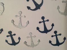 FREE SHIPPING 100 glitter navy blue and silver anchor confetti- nautical theme, baby shower, wedding, beach, ocean