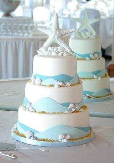 5 Beach Wedding Cakes : Brilliant Blue, Aqua and Turquoise Cakes Guaranteed to Make a Splash