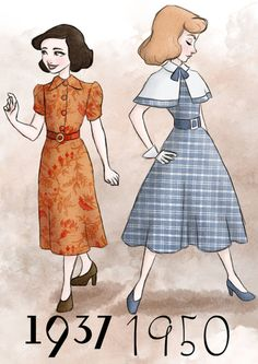 Disney princesses dressed in the fashion of the years their films came out: Snow White and Cinderella