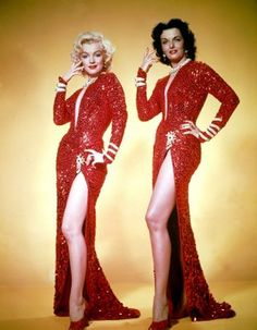 Jane Russell and Marilyn Monroe in Gentlemen Prefer Blondes, costumes designed by Travilla.