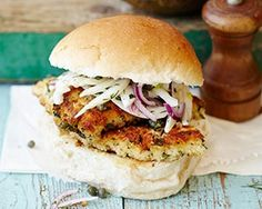 Bill Granger's turkey schnitzel is coated in herby breadcrumbs before frying and serving in a bun with homemade fennel coleslaw