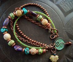 Gemstones, Copper and Glass Bracelet: Boho Jewlery. #jewellery