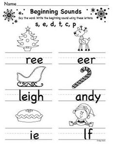 Christmas Beginning and Ending Sounds Sheets