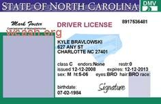 Template North Carolina drivers license editable photoshop file .psd