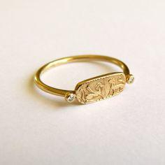 Gold Signet Ring - Gold Lion Ring - 18k Solid Gold