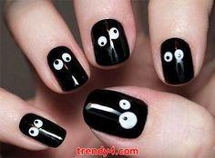 DIY Black Nail Design 2014 Inspiring Black Nails 2014 halloween parties, googly eyes, nail art designs, nail art ideas, nail arts, halloween eyes, halloween nail art, crazy eyes, halloween nails