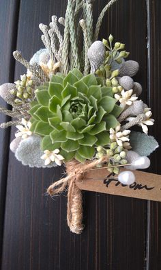 Living Succulent Boutonniere,Rustic Wedding,Burlap Boutonniere,Wedding Succulent,Woodland. $15.00, via Etsy.