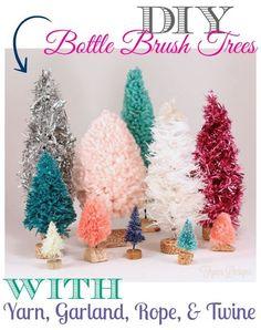 Handmade bottle brush trees handmad bottl, bottl brush, rope, yarn christmas, brush tree, christmas ideas, christmas trees, baby bottles, diy christmas