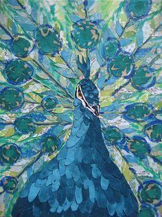 blue peacock print
