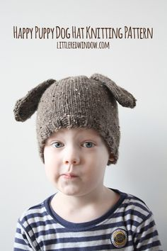 Happy Puppy Dog Hat Knitting Pattern | littleredwindow.com | Make a sweet and simple Puppy Dog hat with floppy ears!  #craft #knitting #hat #freepattern
