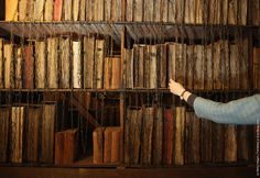A rare chained library, at Hereford Cathedral. When books were rare and valuable they would be chained up to make theft more difficult.