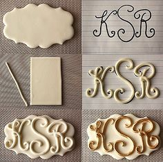 how to make letters for your cake decor...this is a MONOGRAM!!! Way too happy about this! letter, doll cakes, monogram, cake decorations, wedding cakes, cake decorating techniques, polymer clay crafts, cake decorating tips, fondant cakes