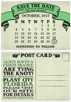 save the date postcard. LOVE THIS!