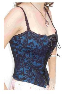 Steampunk Lolita Sexy Black Chantilly Lace and Azure Blue Corset by thejoanandlucyshow, $39.99