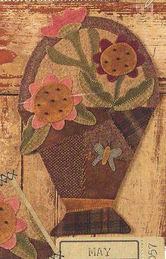Primitive Folk Art Wool Applique Pattern  MAY  by PrimFolkArtShop