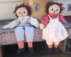 "Lovable Antique Raggedy Ann & Andy Dolls Primitive Handmade 19"" Tall.  Sold on eBay for $171. antiqu raggedi"