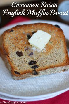 Cinnamon Raisin English Muffin Bread   chezcateylou.com