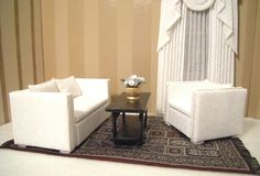 Dollhouse modern loveseat and chair by janetharvie on Etsy, $110.00