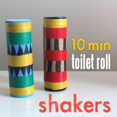 Kids craft. In ten minutes make a shaker from toilet paper rolls, milk jug tops, tape and some rice or beans. Looks like lots of fun to make and play with.