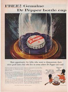 Dr Pepper Free Soda Bottle Cap Ad 1959 Pop Frosty Dog Pup Cartoon Icon Vtg BB143 | eBay