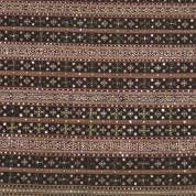 Black/brown striped cotton tapis with gold thread, mica and silk geomatric motives, -small damage-, Lampung, SUMATR