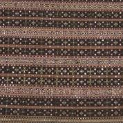 Black/brown striped cotton tapis with gold thread, mica and silk geomatric motives, -small damage-, Lampung, SUMATR small damag, stripe cotton, geomatr motiv, gold thread, batik design