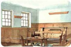 Watercolor: Interior of Amersham Meeting House Amersham, Buckinghamshire, England (Saunders line)