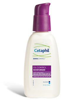 Enter Cetaphil Oil Control Moisturizer with SPF 30!  After 7 years of searching for the best facial moisturizer for oily skin, I have finally found the one.  Every other moisturizer with SPF leaves my skin shiny as soon as I apply it.  This has a matte finish that literally lasts all day.  LIFE CHANGED