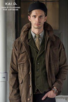 Dust brown Terrain Jacket, English Tweed Tie, Grey Flannel Shirt. by Kai D. www.kaidutility.com. #madeinnewyork