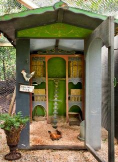 Love this French-country style chicken coop. So many special touches! | 9 charming chicken coops | Living the Country Life | http://www.livingthecountrylife.com/animals/chickens-poultry/9-charming-chicken-coops/