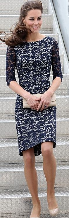kate middleton erdem lace blue dress. probably her best overall look, she looks stunning with her hair straight and pulled back.