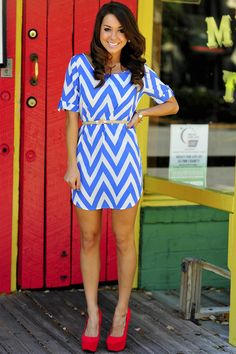 Chevron Dress: Powder Blue AND red heels