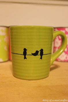 DIY Bird Mug - so cute! I'd use the porcelain sharpies instead of paint.