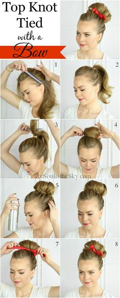 Turn up your top knot. This bun is easy to do and adding a bow will give your look touch of sweetness. knot tie, hairstyle tutorials, bow headband hairstyles, braid hairstyles, christmas hairstyles, easy side ponytail hairstyles, easy hairstyles with headbands, bun with bow, top bun hairstyles