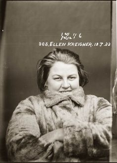 """Mug shot of Ellen Kreigher, 13 July 1923, Central Police Station, Sydney    Ellen (""""Nellie"""") Kreigher was one of four people arrested and charged over the murder of Gertrude Mabel Heaydon.    In October the previous year Gertrude Heaydon had been taken to the Coogee flat of a woman known as """"Nurse Taylor"""" to procure an illegal abortion. She died there in the flat.    Police later claimed she was murdered by Nurse Taylor, at the behest of Heaydon's husband, Alfred. A team of low-lifes was even..."""