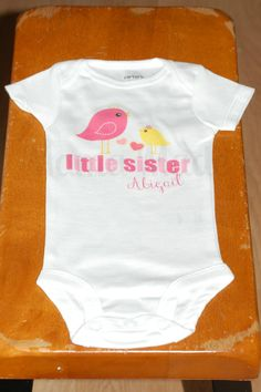Personalized LIttle Sister Pink and Yellow Bird by mamamadebows, $15.00