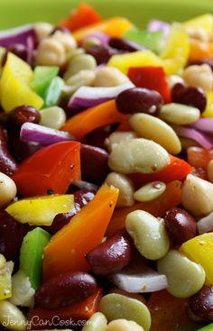 Rainbow Bean Salad recipe veggi, rainbow bean, bean salad recipes easy, vegtable salad recipes, rainbows, healthi food, jennycancookcom, fiber, bean salads