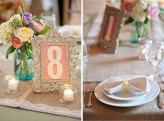 The Hawk reception decor featured antique blue mason jar arrangements, vintage picture frame table numbers, burlap and lace table runners, and bow tie napkins.  (Photos by Valerie Demo Photography)