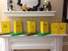 Lego party bags with Lego movie faces