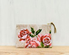 Roses Paint by Number Pouch  makeup bag clutch by StudioLiscious