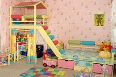 Love this playroom or toddler bedroom idea!  It's so bright and cute!  What kid wouldn't love an indoor fort?