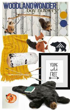 fox, mood board, girl nurseries, arrow, nurseri inspir, boy nurseries, kid, baby bear nursery, bear rug