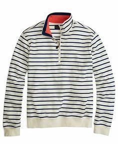 Striped Half-Zip Knit White-Navy