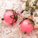 Honeysuckle earrings with filigree antiqued brass. $14