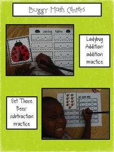 Cute math center to go with the very grouchy ladybug