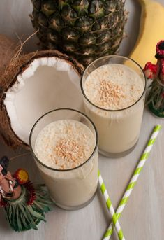Hula Hula Tropical Smoothie   •1/2 can  or cup coconut milk or juice  •1 bananas  •1 c pineapple chunks  •1/4 cup pineapple juice  •1/2-1 tsp freshly grated ginger  •Ice 1 cup-less if fruit is frozen  add liquid to blender, blend then add fruit