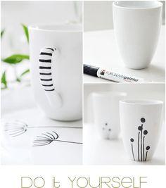 DIY decorated Cheap IKEA mugs   porcelain paint pen