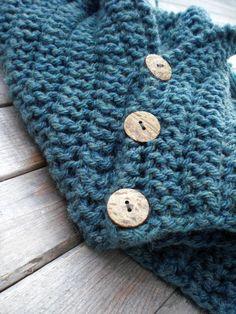 Knitted winter shawl / soft blue / rustic / by MaybeTheWhiteDog,