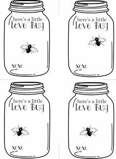 Valentine's Love Bug - Mason Jar Printable Cards