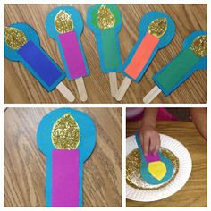 This Little Light of Mine  I traced 3 patterns (light, candle, background) on construction paper, and I made a variety of candlestick colors for them to choose.   Glue the pieces together, add a stick and glitter!  I had them use a glue stick for the glitter, and then they turned the candle faced down, and rubbed it around in the glitter.  Normally, I use white glue and sprinkle the glitter, but this way was cleaner.